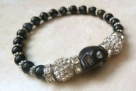 Quirky Gothic Rhinestone Studded Skull Stretch Bracelet.
